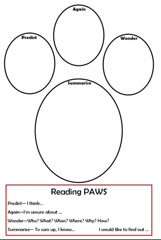 Paws for reading worksheet
