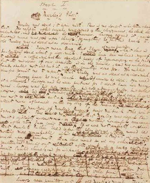 An original hand written version of A Christmas Carol showing Dickens' edits.